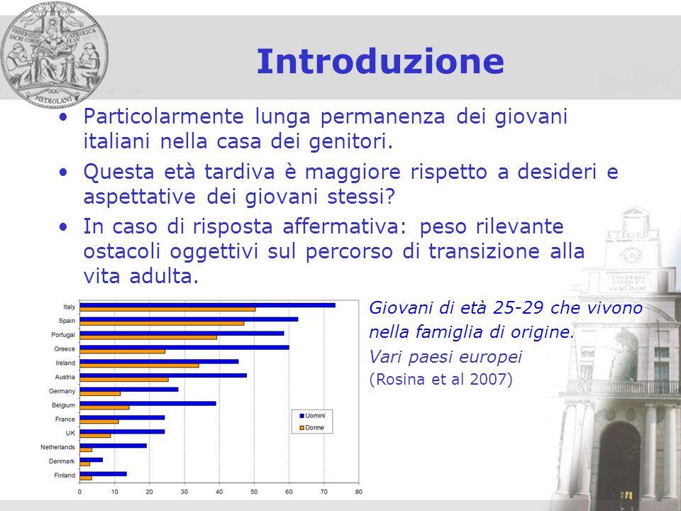 Introduzione Particolarmente lunga permanenza dei giovani italiani nella casa dei genitori.