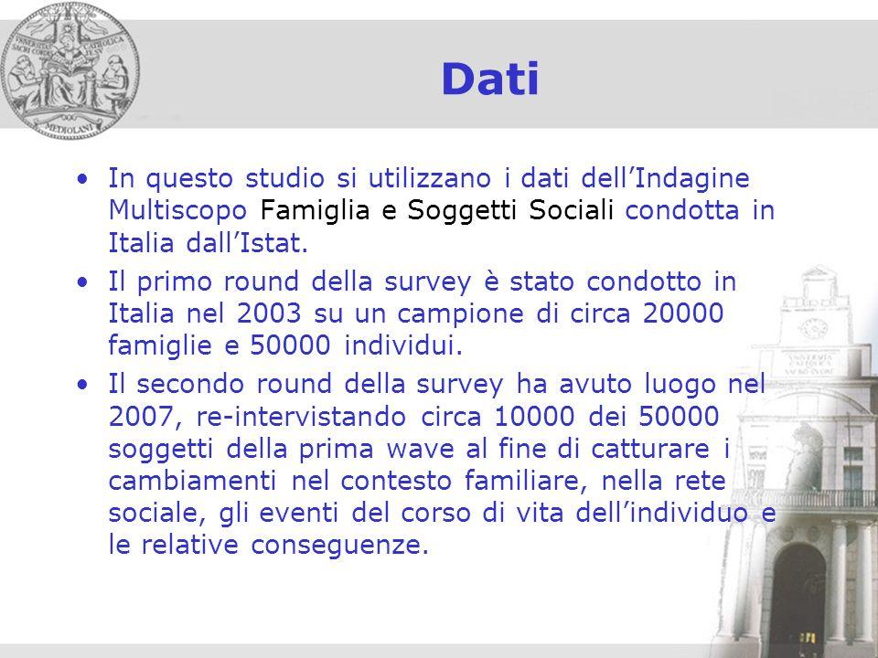 Dati In questo studio si utilizzano i dati dellIndagine Multiscopo Famiglia e Soggetti Sociali condotta in Italia dallIstat.