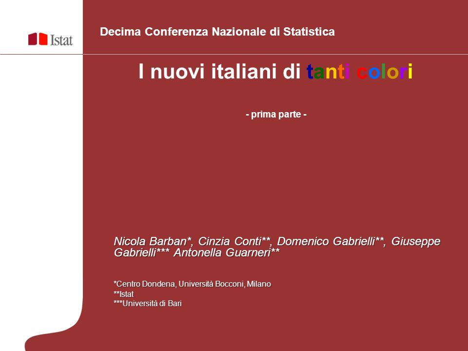 I nuovi italiani di tanti colori - prima parte - Decima Conferenza Nazionale di Statistica Nicola Barban*, Cinzia Conti**, Domenico Gabrielli**, Giuse