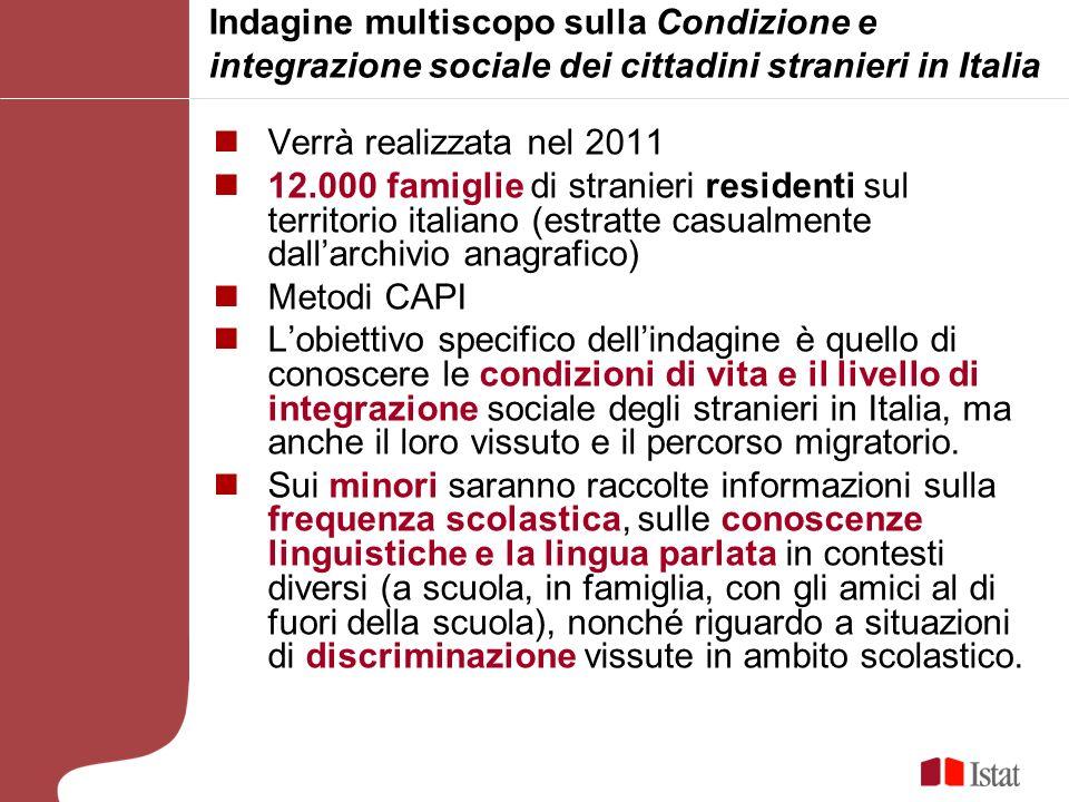 Indagine multiscopo sulla Condizione e integrazione sociale dei cittadini stranieri in Italia Verrà realizzata nel 2011 12.000 famiglie di stranieri r