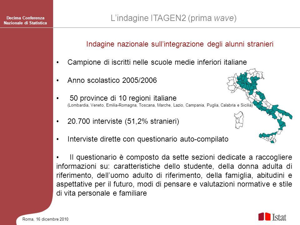 Roma, 16 dicembre 2010 Indagine nazionale sullintegrazione degli alunni stranieri Campione di iscritti nelle scuole medie inferiori italiane Anno scol