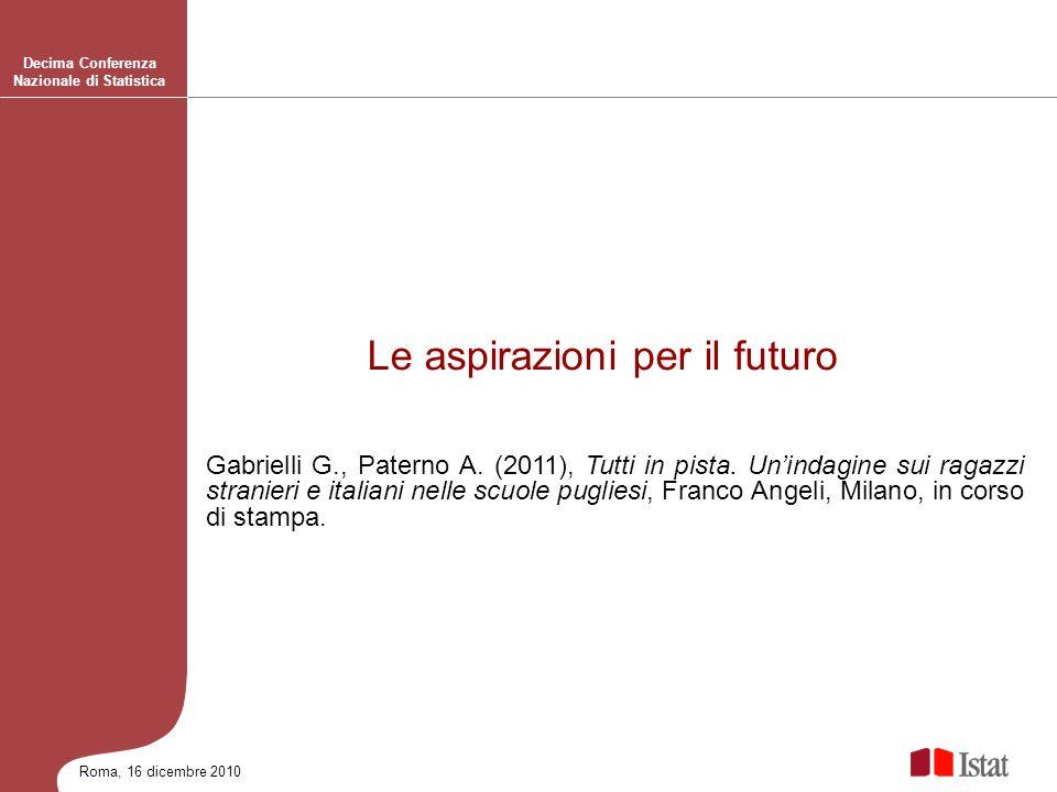 Roma, 16 dicembre 2010 Decima Conferenza Nazionale di Statistica Gabrielli G., Paterno A. (2011), Tutti in pista. Unindagine sui ragazzi stranieri e i
