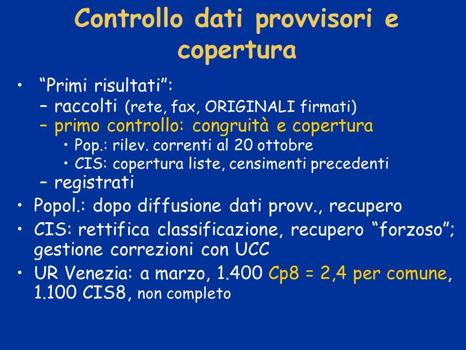 Controllo dati provvisori e copertura Primi risultati: –raccolti (rete, fax, ORIGINALI firmati) –primo controllo: congruità e copertura Pop.: rilev.