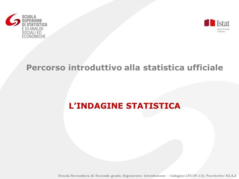 Scuola Secondaria di Secondo grado; Argomento: Introduzione – Indagine (30.09.13); Pacchetto: S2.A.2 Percorso introduttivo alla statistica ufficiale L