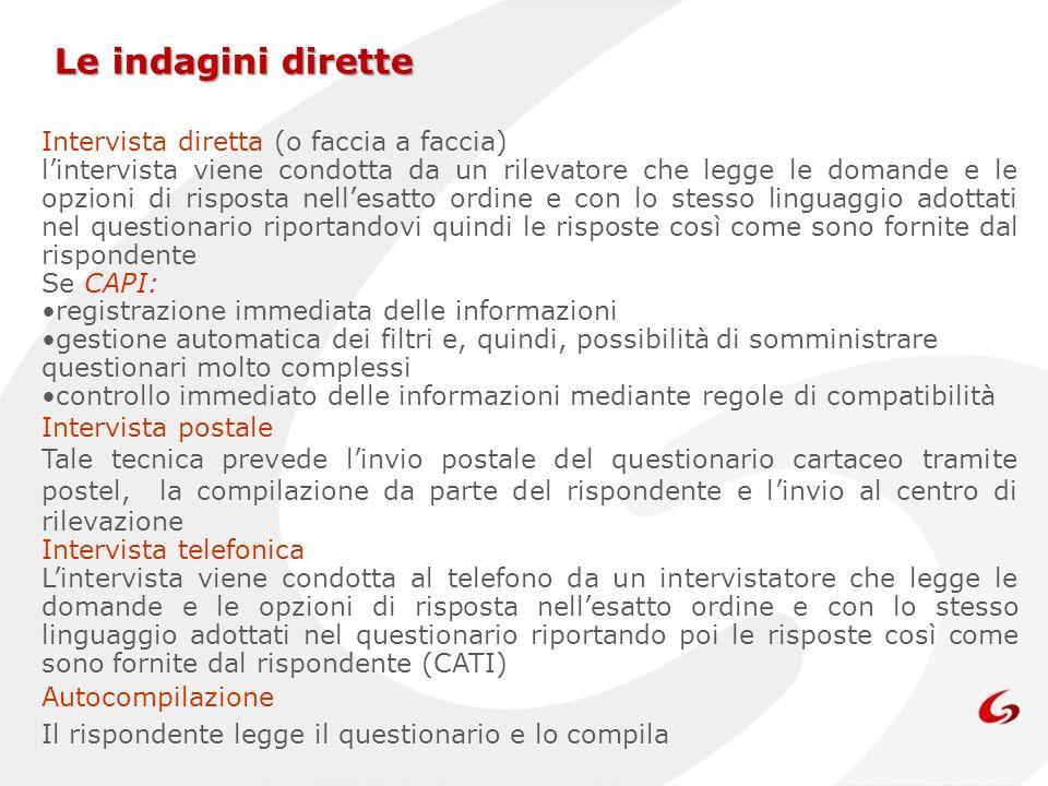Le indagini dirette Intervista diretta (o faccia a faccia) lintervista viene condotta da un rilevatore che legge le domande e le opzioni di risposta n