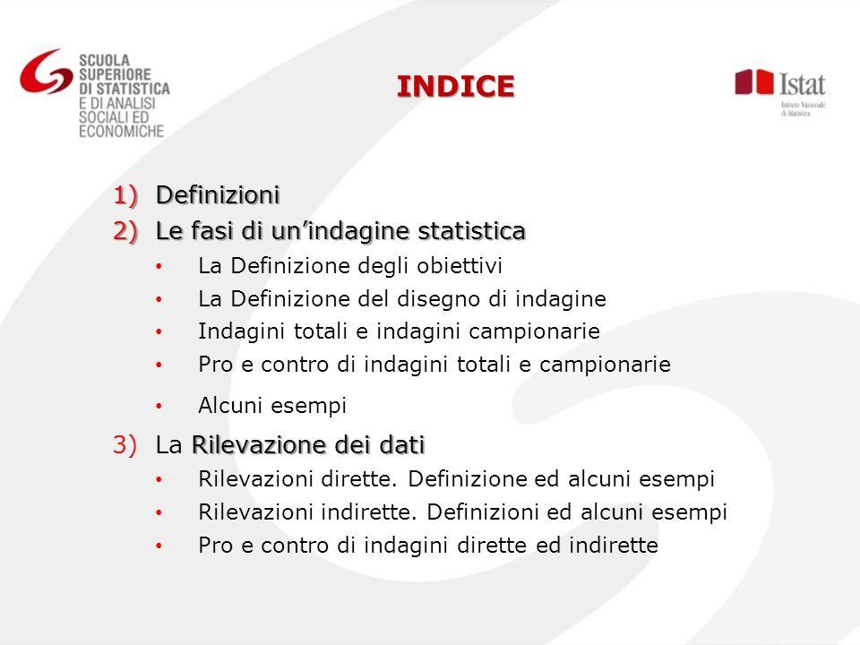 INDICE 1)Definizioni 2)Le fasi di unindagine statistica La Definizione degli obiettivi La Definizione del disegno di indagine Indagini totali e indagi