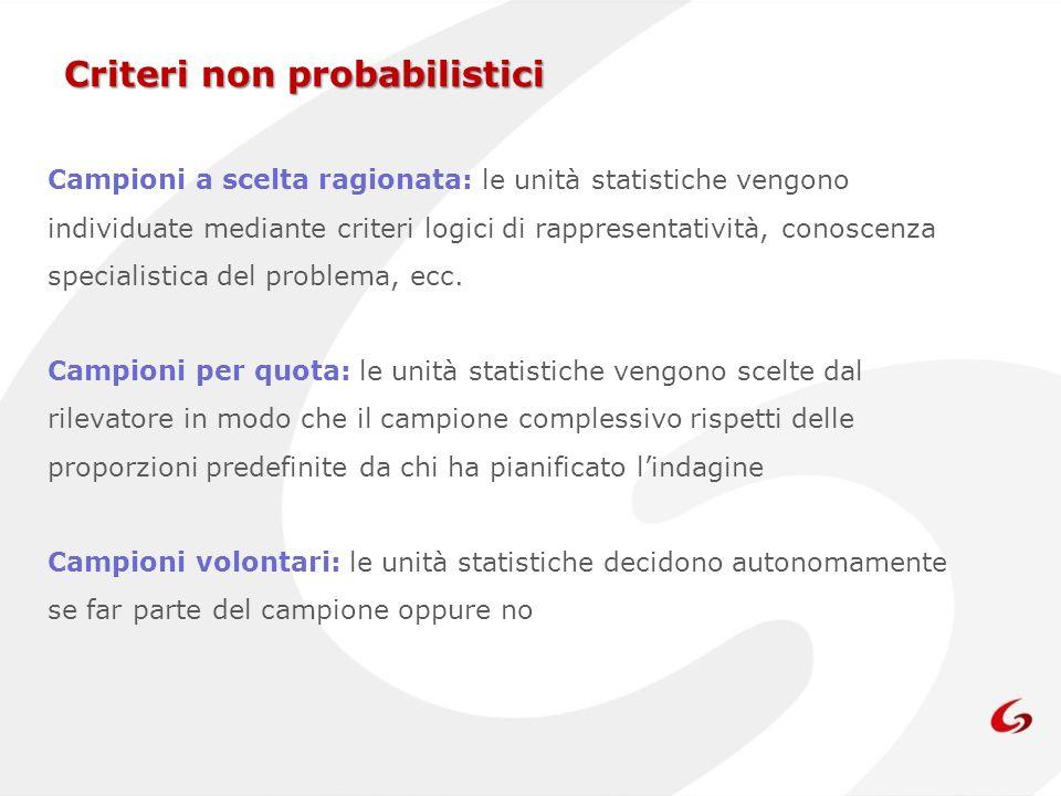 Criteri non probabilistici Campioni a scelta ragionata: le unità statistiche vengono individuate mediante criteri logici di rappresentatività, conosce