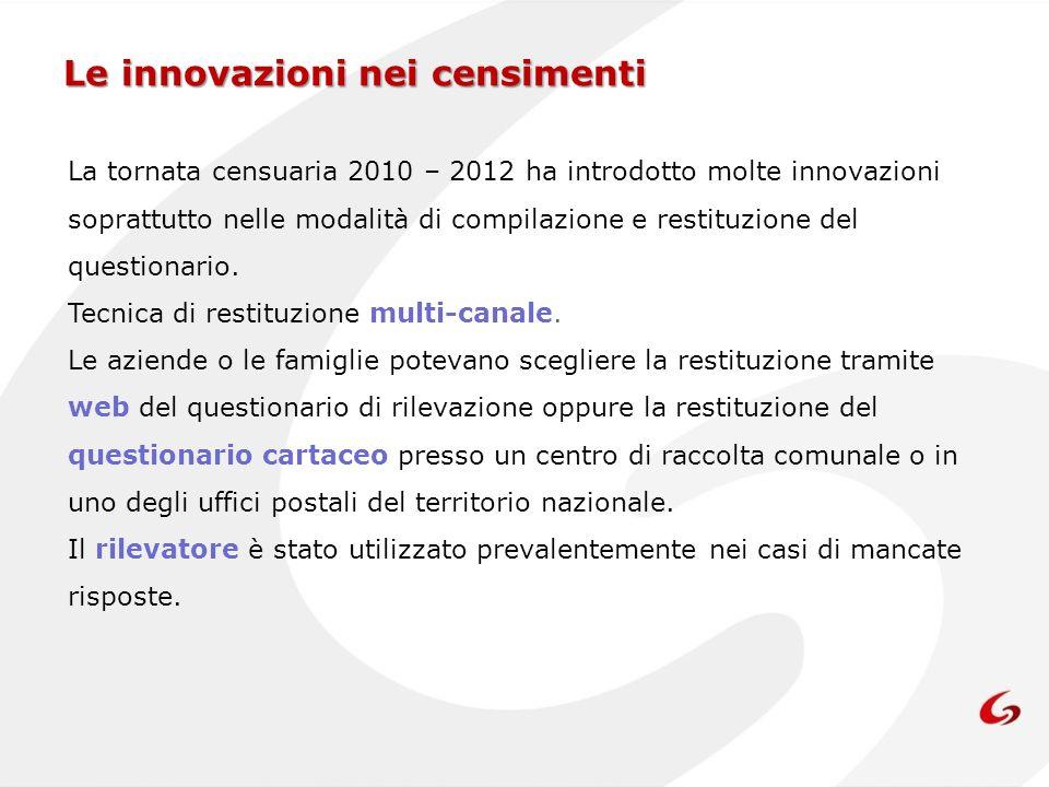Le innovazioni nei censimenti La tornata censuaria 2010 – 2012 ha introdotto molte innovazioni soprattutto nelle modalità di compilazione e restituzio