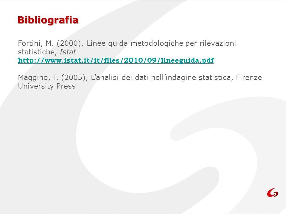 Bibliografia Fortini, M. (2000), Linee guida metodologiche per rilevazioni statistiche, Istat http://www.istat.it/it/files/2010/09/lineeguida.pdf Magg