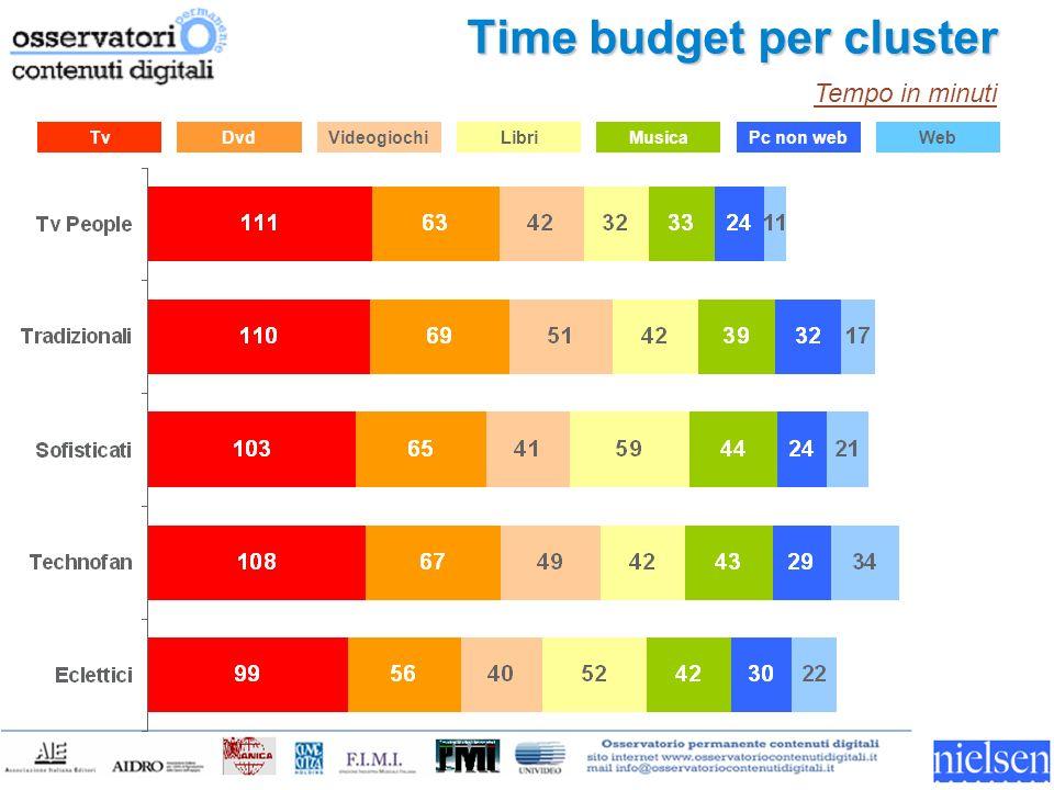 Tv Time budget per cluster DvdVideogiochiLibriMusicaPc non webWeb Tempo in minuti