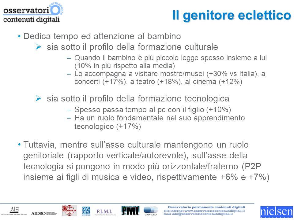Il genitore eclettico Dedica tempo ed attenzione al bambino sia sotto il profilo della formazione culturale – Quando il bambino è più piccolo legge spesso insieme a lui (10% in più rispetto alla media) – Lo accompagna a visitare mostre/musei (+30% vs Italia), a concerti (+17%), a teatro (+18%), al cinema (+12%) sia sotto il profilo della formazione tecnologica – Spesso passa tempo al pc con il figlio (+10%) – Ha un ruolo fondamentale nel suo apprendimento tecnologico (+17%) Tuttavia, mentre sullasse culturale mantengono un ruolo genitoriale (rapporto verticale/autorevole), sullasse della tecnologia si pongono in modo più orizzontale/fraterno (P2P insieme ai figli di musica e video, rispettivamente +6% e +7%)