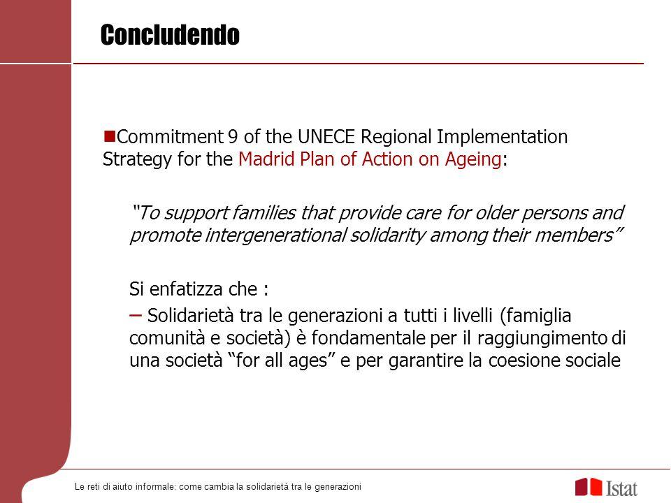Le reti di aiuto informale: come cambia la solidarietà tra le generazioni Concludendo Commitment 9 of the UNECE Regional Implementation Strategy for t