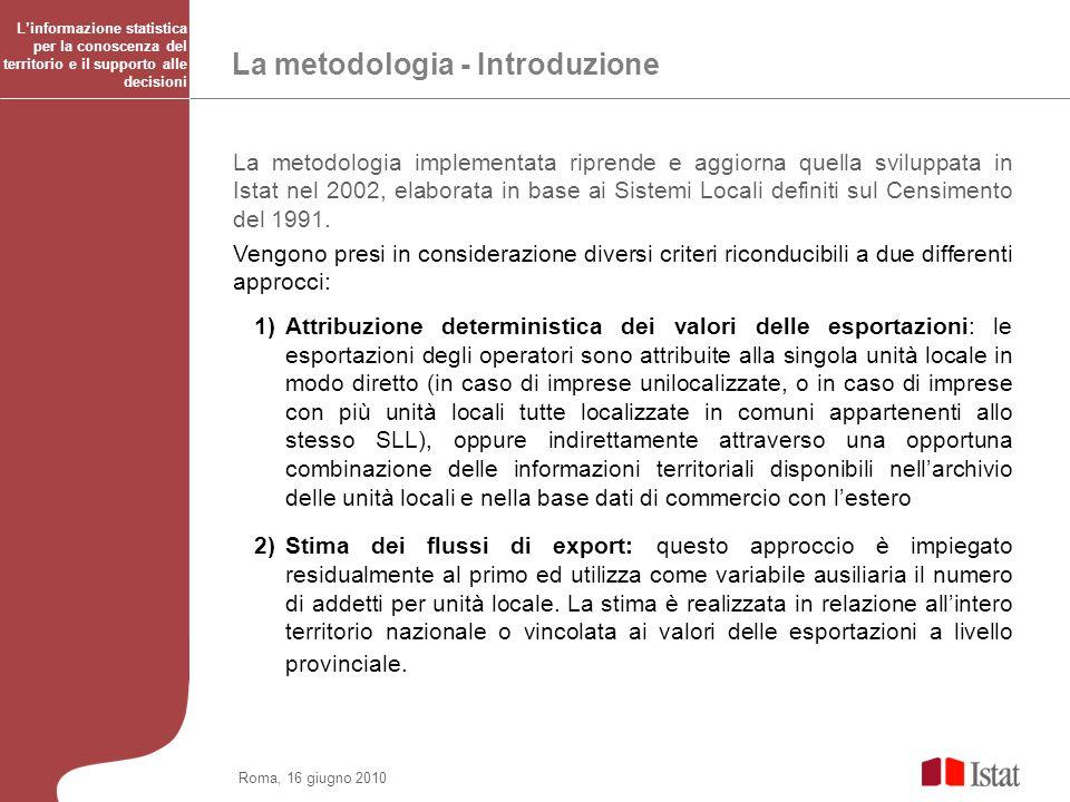 Roma, 16 giugno 2010 La metodologia - Introduzione La metodologia implementata riprende e aggiorna quella sviluppata in Istat nel 2002, elaborata in b
