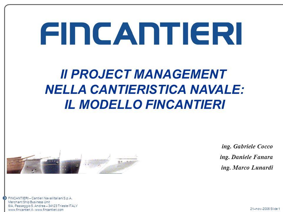 21-nov-2006 – Slide 52 Il Project Management in Fincantieri IL PIANO OPERATIVO DI COMMESSA WBS VALL OFF VALUE MANAGEMENT RISK MANAGEMENT MONITORAGGIO degli APPROVVIGIONAMENTI e della PRODUZIONE PIANIFICAZIONE E CONTROLLO ECONOMICO DI COMMESSA PROGRAMMAZIONE INTEGRATA DI COMMESSA PHASE REVIEW PROJECT KNOWLEDGE MANAGEMENT / Web PM Portal