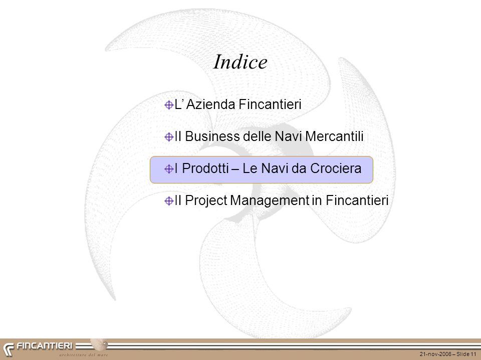 21-nov-2006 – Slide 11 L Azienda Fincantieri Il Business delle Navi Mercantili I Prodotti – Le Navi da Crociera Il Project Management in Fincantieri I