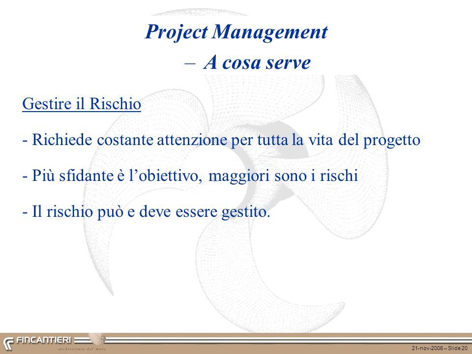 21-nov-2006 – Slide 20 Project Management – A cosa serve Gestire il Rischio - Richiede costante attenzione per tutta la vita del progetto - Più sfidan