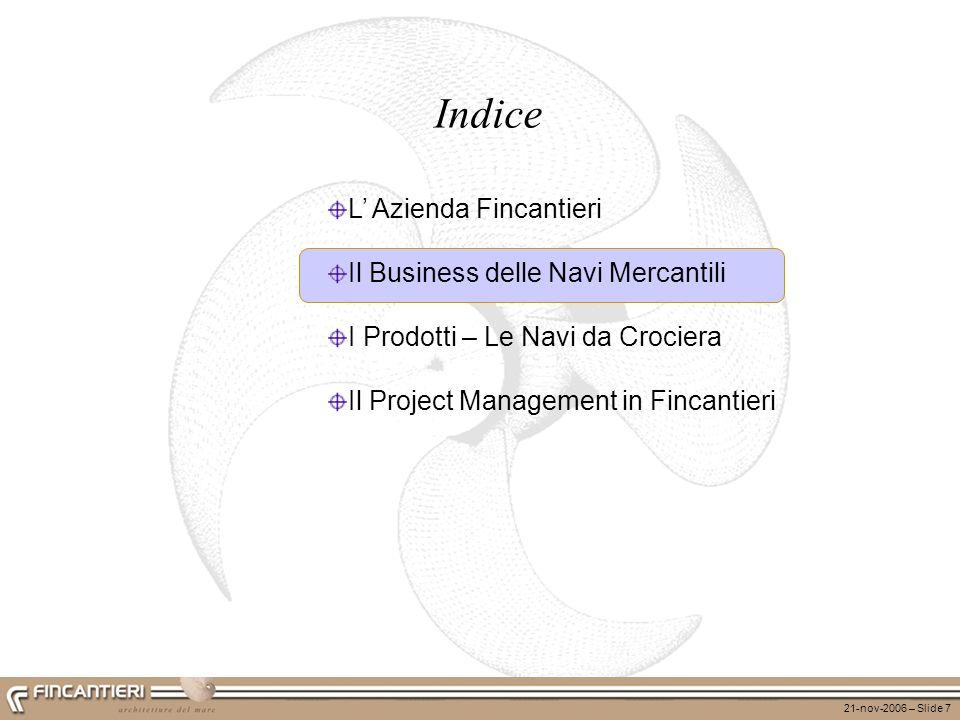 21-nov-2006 – Slide 7 Indice L Azienda Fincantieri Il Business delle Navi Mercantili I Prodotti – Le Navi da Crociera Il Project Management in Fincant