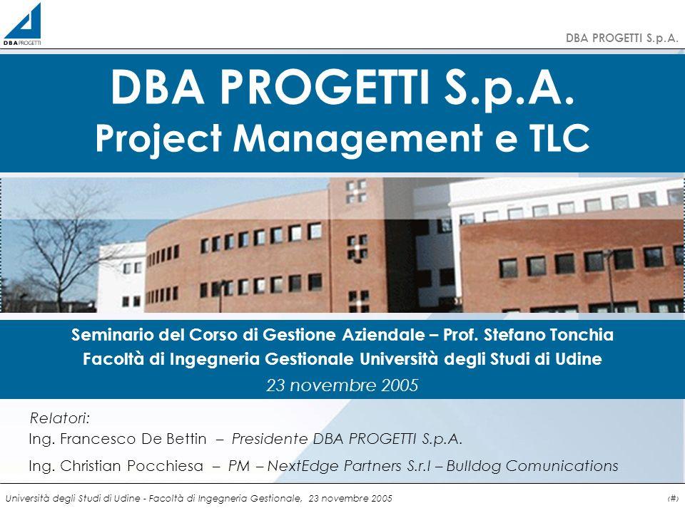 http://clienti.dbaprogetti.it DBA PROGETTI S.p.A. Università degli Studi di Udine - Facoltà di Ingegneria Gestionale, 23 novembre 20051 DBA PROGETTI S