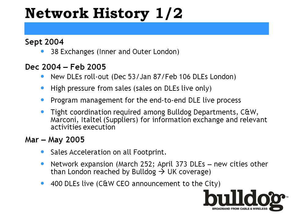 Network History 1/2 Sept 2004 38 Exchanges (Inner and Outer London) Dec 2004 – Feb 2005 New DLEs roll-out (Dec 53/Jan 87/Feb 106 DLEs London) High pressure from sales (sales on DLEs live only) Program management for the end-to-end DLE live process Tight coordination required among Bulldog Departments, C&W, Marconi, Italtel (Suppliers) for information exchange and relevant activities execution Mar – May 2005 Sales Acceleration on all Footprint.