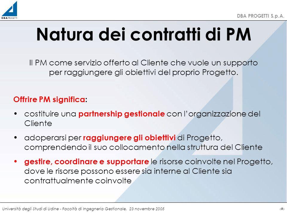 http://clienti.dbaprogetti.it DBA PROGETTI S.p.A. Università degli Studi di Udine - Facoltà di Ingegneria Gestionale, 23 novembre 20056 Natura dei con