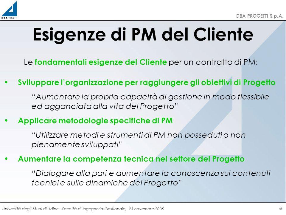http://clienti.dbaprogetti.it DBA PROGETTI S.p.A. Università degli Studi di Udine - Facoltà di Ingegneria Gestionale, 23 novembre 20057 Esigenze di PM