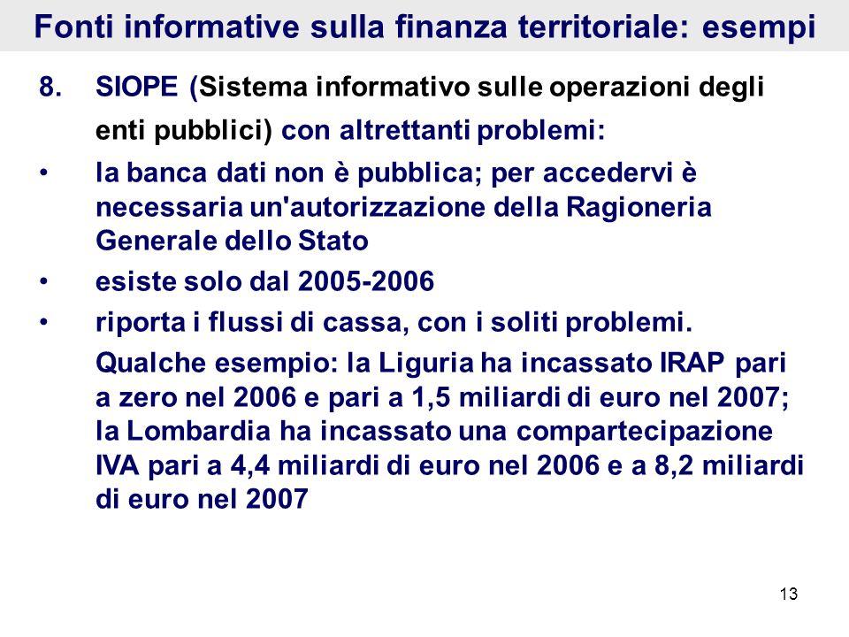 13 Fonti informative sulla finanza territoriale: esempi 8.SIOPE (Sistema informativo sulle operazioni degli enti pubblici) con altrettanti problemi: l