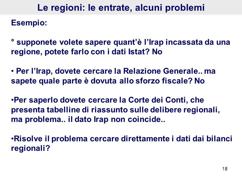 18 Le regioni: le entrate, alcuni problemi Esempio: ° supponete volete sapere quantè lIrap incassata da una regione, potete farlo con i dati Istat? No
