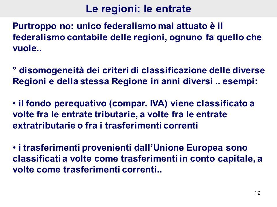 19 Le regioni: le entrate Purtroppo no: unico federalismo mai attuato è il federalismo contabile delle regioni, ognuno fa quello che vuole.. ° disomog