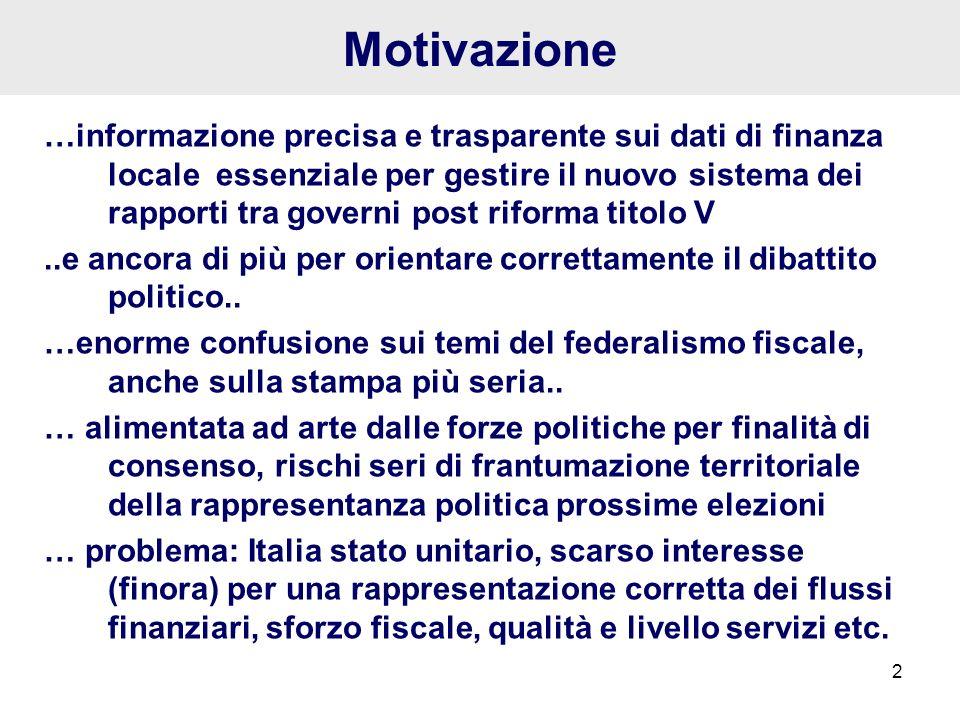 2 Motivazione …informazione precisa e trasparente sui dati di finanza locale essenziale per gestire il nuovo sistema dei rapporti tra governi post rif