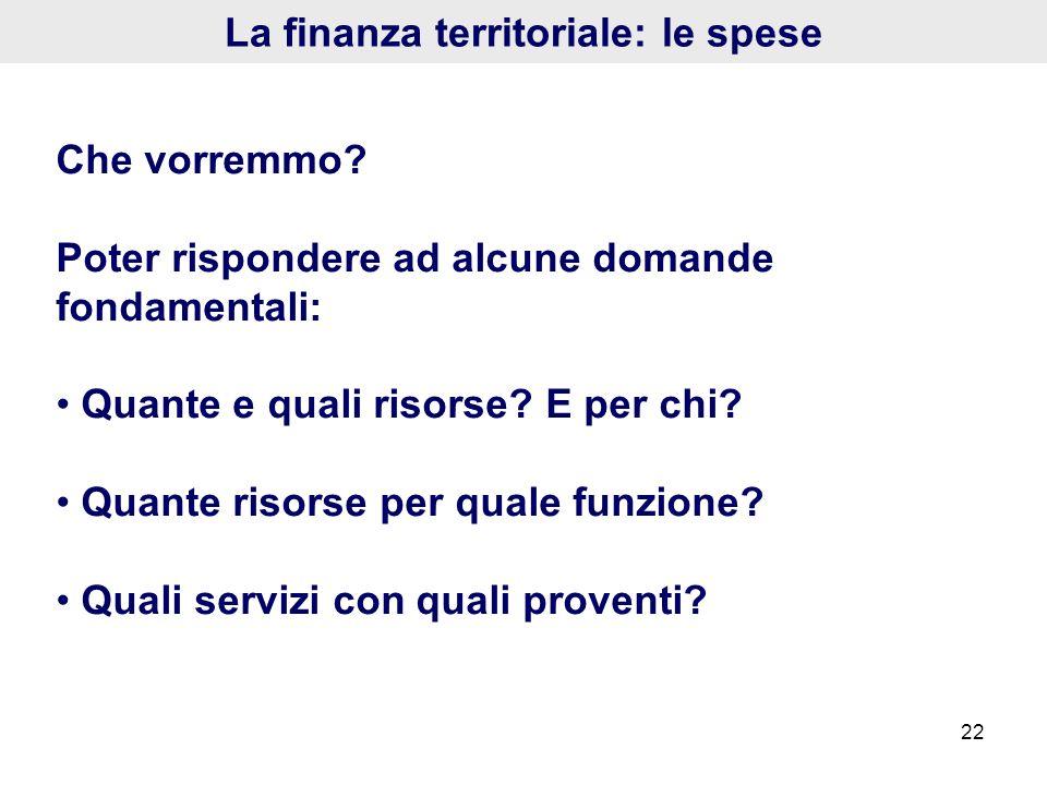 22 La finanza territoriale: le spese Che vorremmo? Poter rispondere ad alcune domande fondamentali: Quante e quali risorse? E per chi? Quante risorse