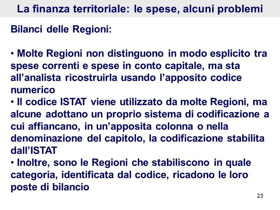 23 La finanza territoriale: le spese, alcuni problemi Bilanci delle Regioni: Molte Regioni non distinguono in modo esplicito tra spese correnti e spes