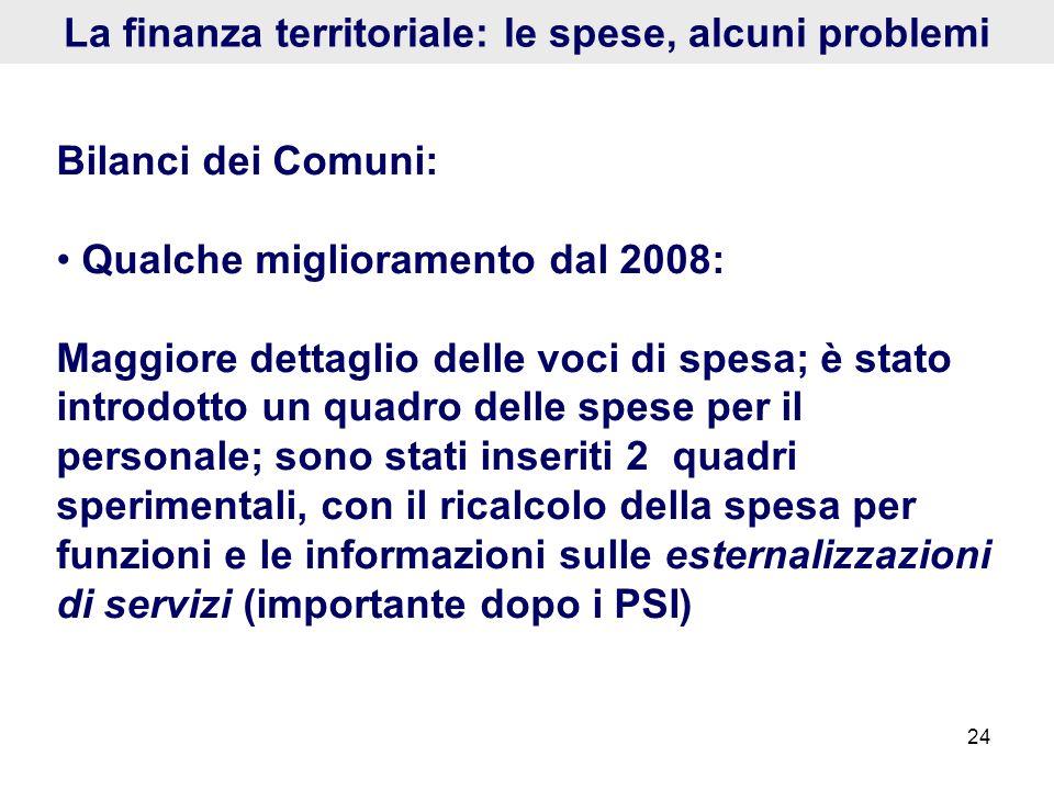 24 La finanza territoriale: le spese, alcuni problemi Bilanci dei Comuni: Qualche miglioramento dal 2008: Maggiore dettaglio delle voci di spesa; è st