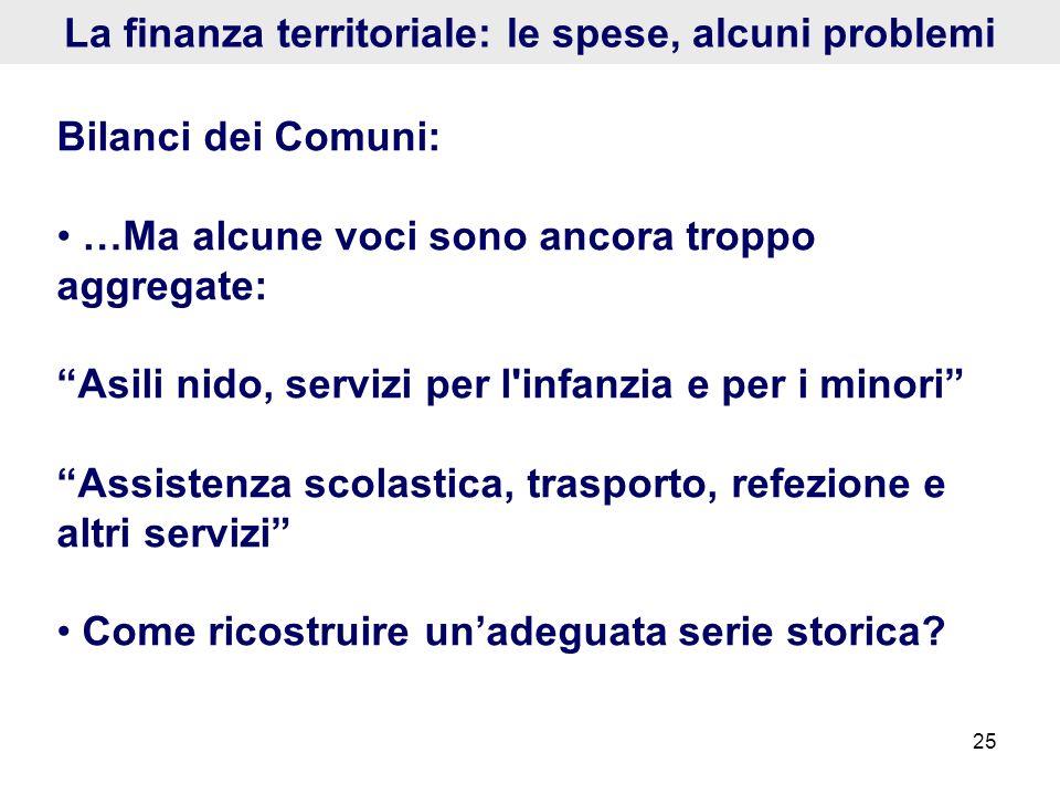 25 La finanza territoriale: le spese, alcuni problemi Bilanci dei Comuni: …Ma alcune voci sono ancora troppo aggregate: Asili nido, servizi per l'infa