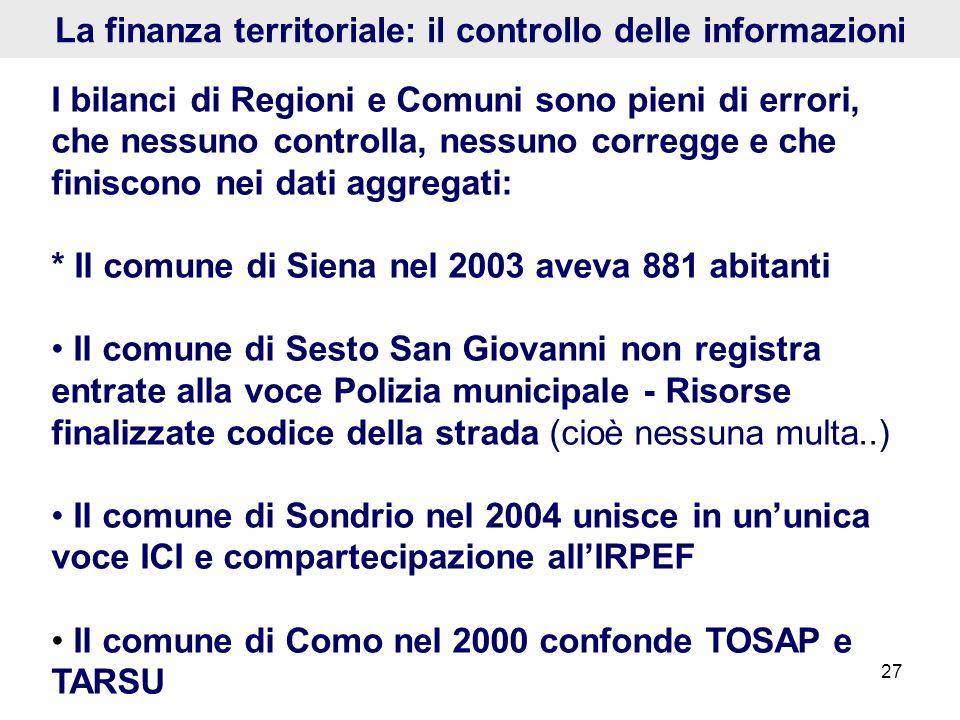 27 La finanza territoriale: il controllo delle informazioni I bilanci di Regioni e Comuni sono pieni di errori, che nessuno controlla, nessuno corregg