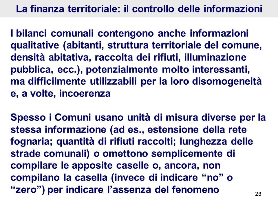28 La finanza territoriale: il controllo delle informazioni I bilanci comunali contengono anche informazioni qualitative (abitanti, struttura territor