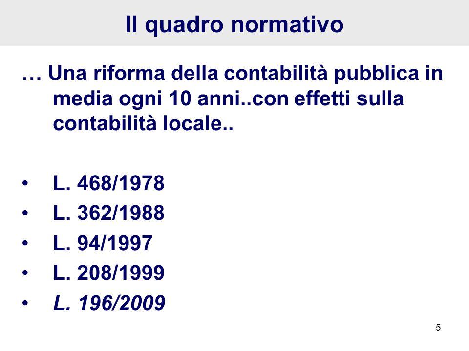 5 Il quadro normativo … Una riforma della contabilità pubblica in media ogni 10 anni..con effetti sulla contabilità locale.. L. 468/1978 L. 362/1988 L