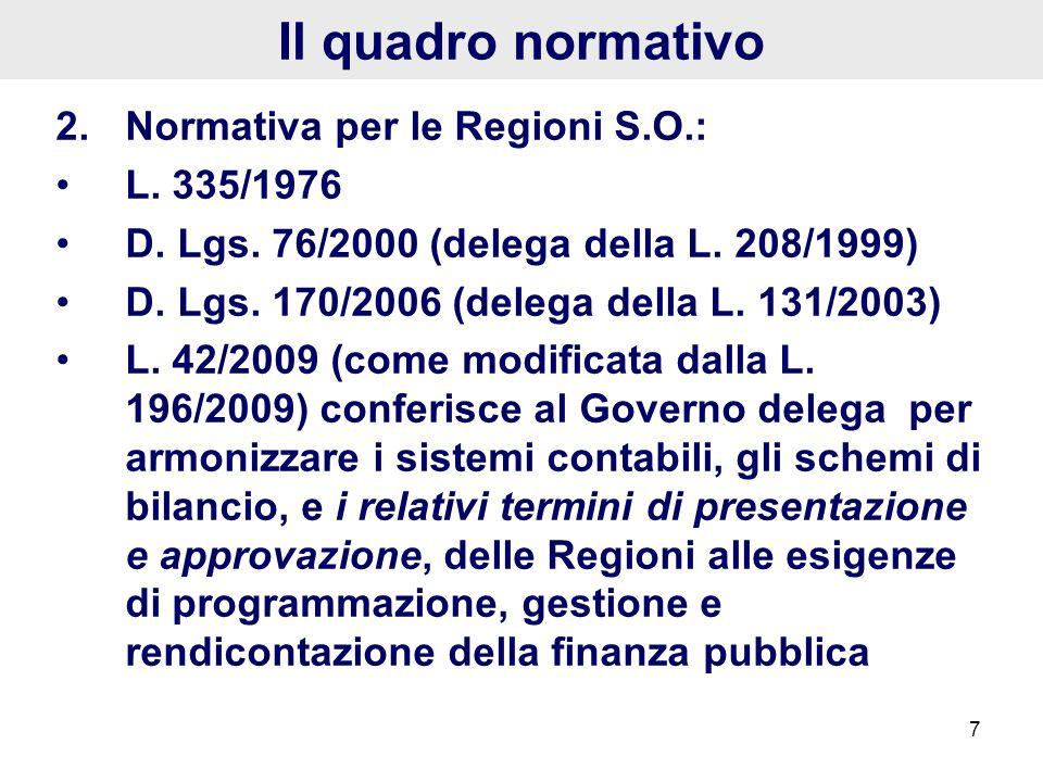 7 Il quadro normativo 2.Normativa per le Regioni S.O.: L. 335/1976 D. Lgs. 76/2000 (delega della L. 208/1999) D. Lgs. 170/2006 (delega della L. 131/20