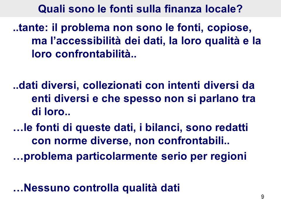 9 Quali sono le fonti sulla finanza locale?..tante: il problema non sono le fonti, copiose, ma laccessibilità dei dati, la loro qualità e la loro conf