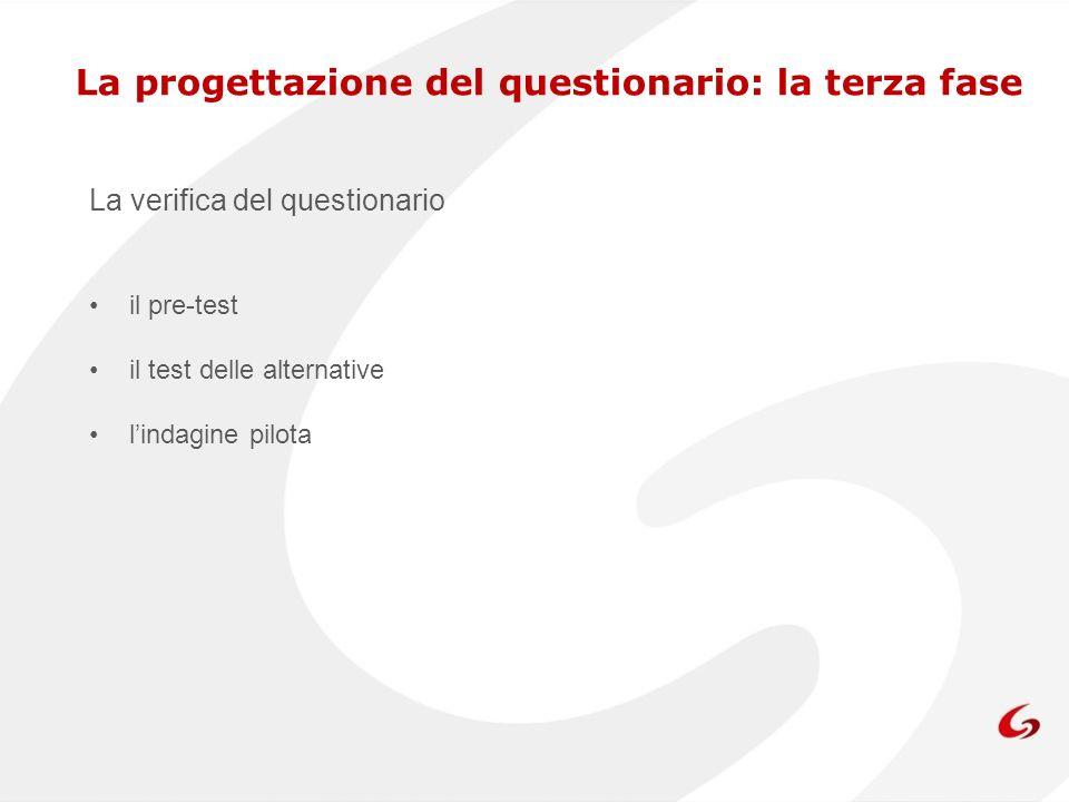 La progettazione del questionario: la terza fase La verifica del questionario il pre-test il test delle alternative lindagine pilota