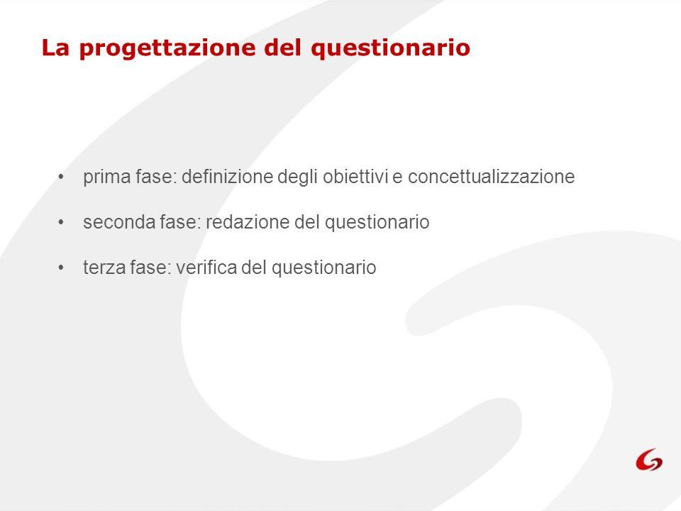 La progettazione del questionario: prima fase La definizione degli obiettivi e concettualizzazione documentarsi sullargomento individuare delle variabili da raccogliere rispetto ai temi dinteresse identificare i destinatari del questionario