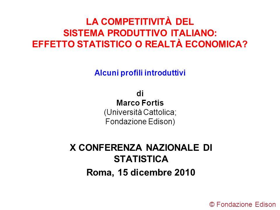 LA COMPETITIVITÀ DEL SISTEMA PRODUTTIVO ITALIANO: EFFETTO STATISTICO O REALTÀ ECONOMICA? Alcuni profili introduttivi di Marco Fortis (Università Catto