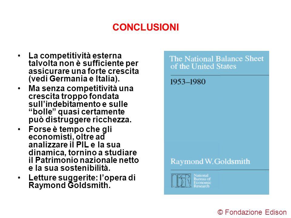 CONCLUSIONI La competitività esterna talvolta non è sufficiente per assicurare una forte crescita (vedi Germania e Italia). Ma senza competitività una