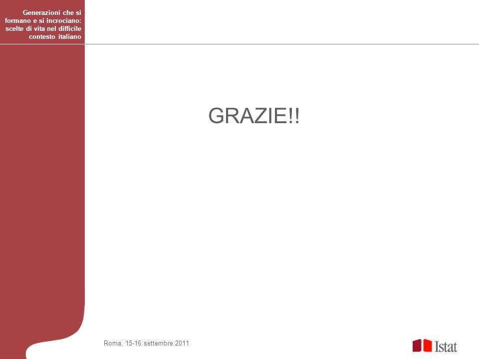 Generazioni che si formano e si incrociano: scelte di vita nel difficile contesto italiano Roma, 15-16 settembre 2011 GRAZIE!!