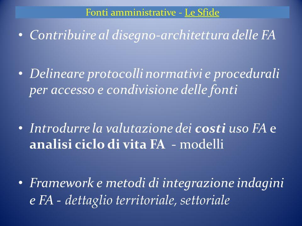 Fonti amministrative - Le Sfide Contribuire al disegno-architettura delle FA Delineare protocolli normativi e procedurali per accesso e condivisione delle fonti Introdurre la valutazione dei costi uso FA e analisi ciclo di vita FA - modelli Framework e metodi di integrazione indagini e FA - dettaglio territoriale, settoriale