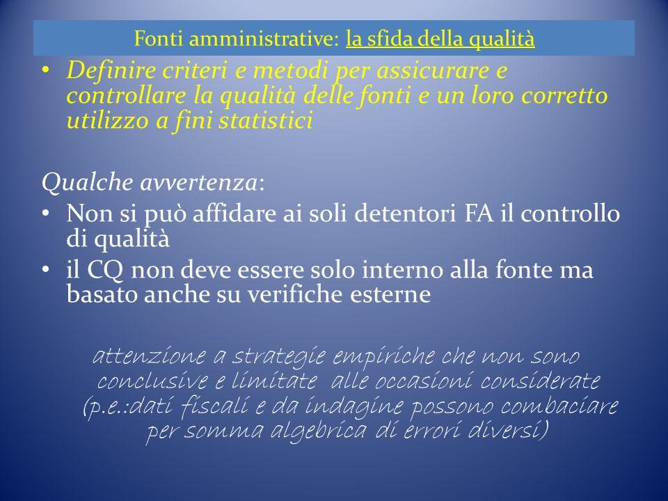 Fonti amministrative - La sfida della qualità cnt.