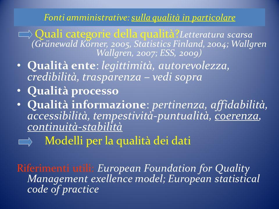 Fonti amministrative: sulla qualità in particolare Quali categorie della qualità.