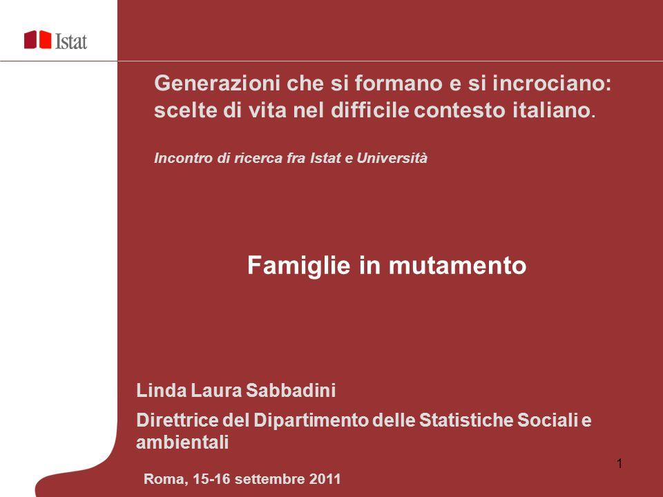 1 Linda Laura Sabbadini Direttrice del Dipartimento delle Statistiche Sociali e ambientali Generazioni che si formano e si incrociano: scelte di vita
