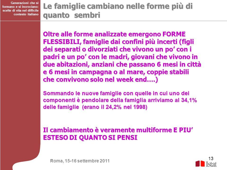 13 Generazioni che si formano e si incrociano: scelte di vita nel difficile contesto italiano Le famiglie cambiano nelle forme più di quanto sembri Ol