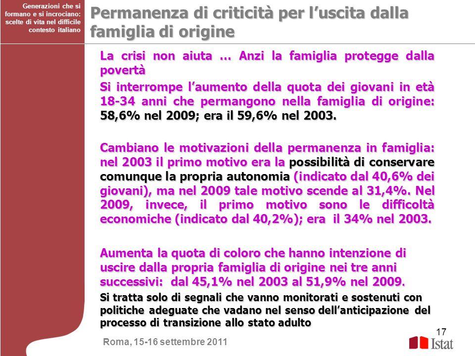 17 Generazioni che si formano e si incrociano: scelte di vita nel difficile contesto italiano Permanenza di criticità per luscita dalla famiglia di or