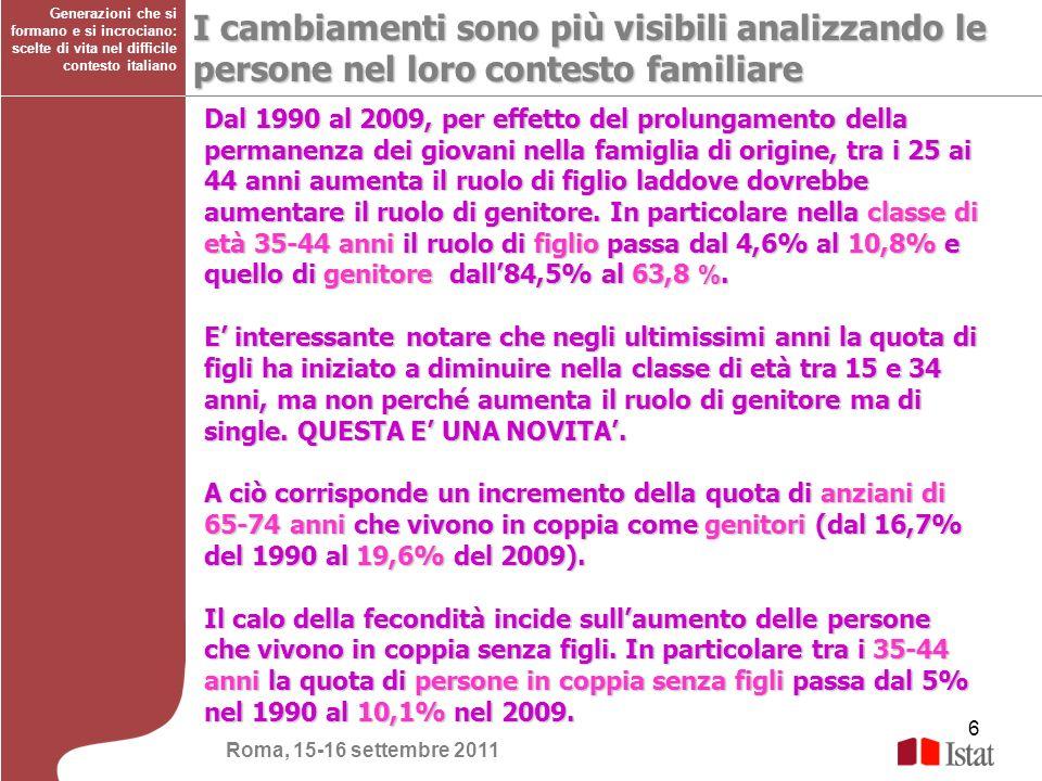 6 Generazioni che si formano e si incrociano: scelte di vita nel difficile contesto italiano I cambiamenti sono più visibili analizzando le persone ne